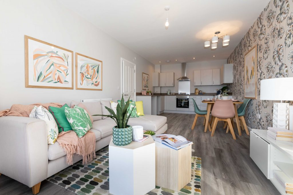 Living area at shared ownership apartments in New Brighton, Wirral