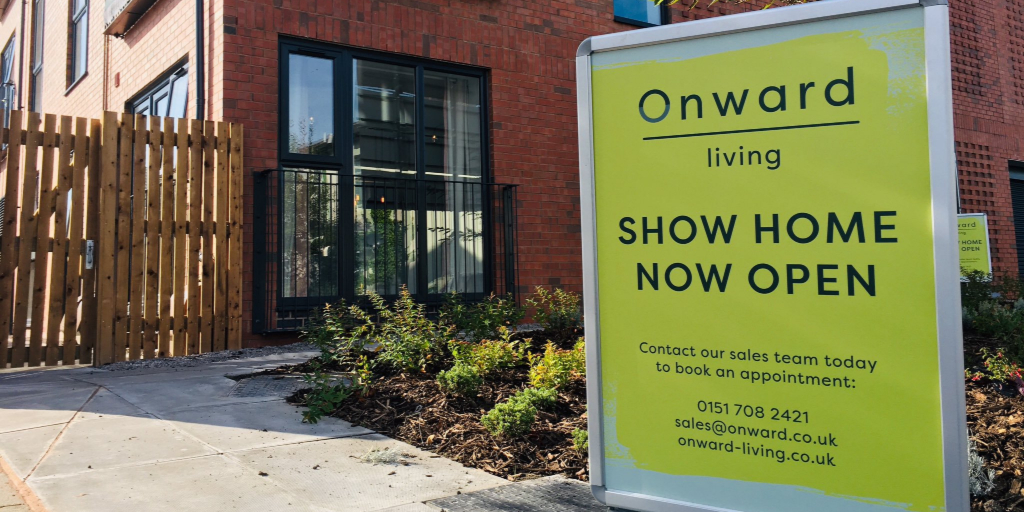 Show home sign at Potters Mews. New Brighton, Wirral
