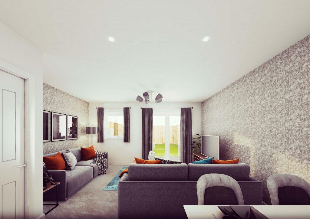 Living room in the Wilde 3-bedroom shared ownership home at Turnstone Grange