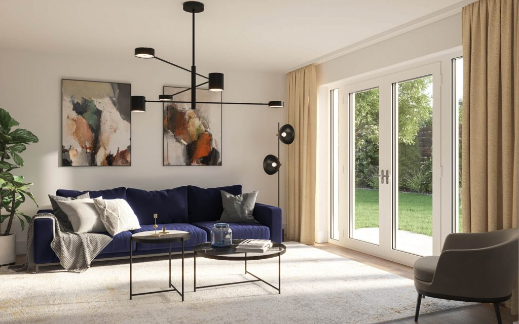 The lounge at 3-bedroom home for shared ownership at Sandhills Park, Scarisbrick